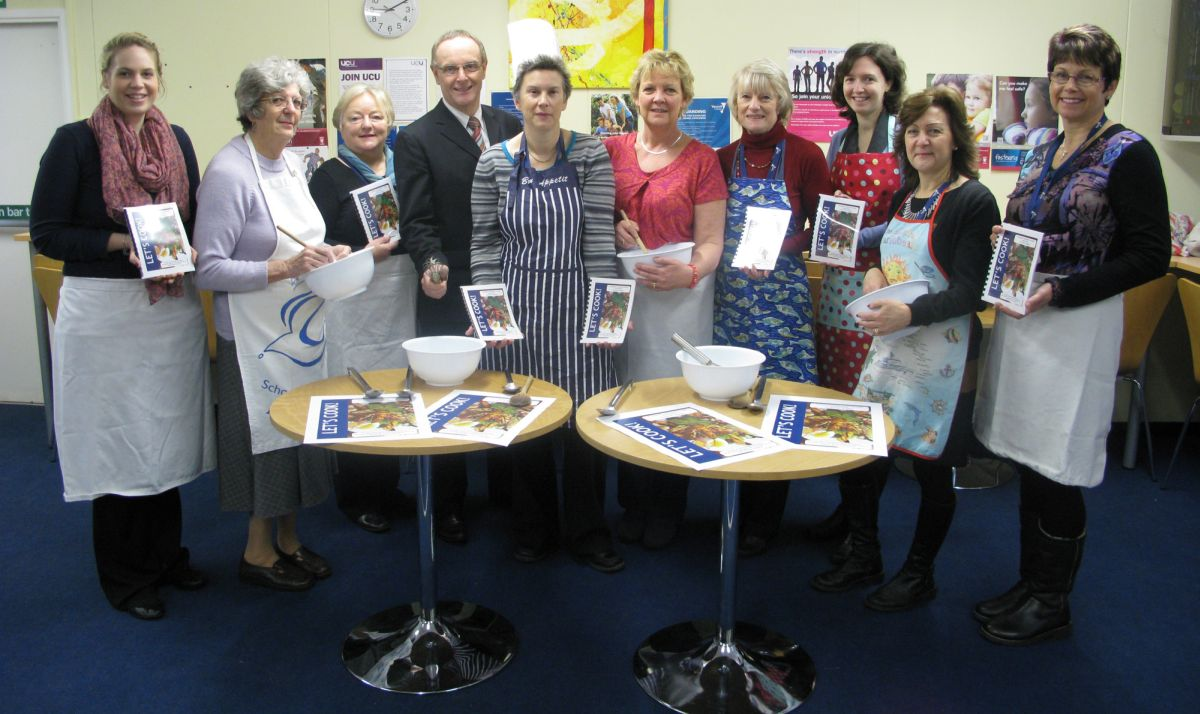 DEBBIE Guppy, Karen Clotworthy and staff who have donated recipes, Laura Milligan, Val Holdsworth, Tiggy Glover, principal James Hampton, Debbie Guppy, Karen Clotworthy, Angela Coward, Sarah Dunstan, Sarah Massey and Jane Allen.