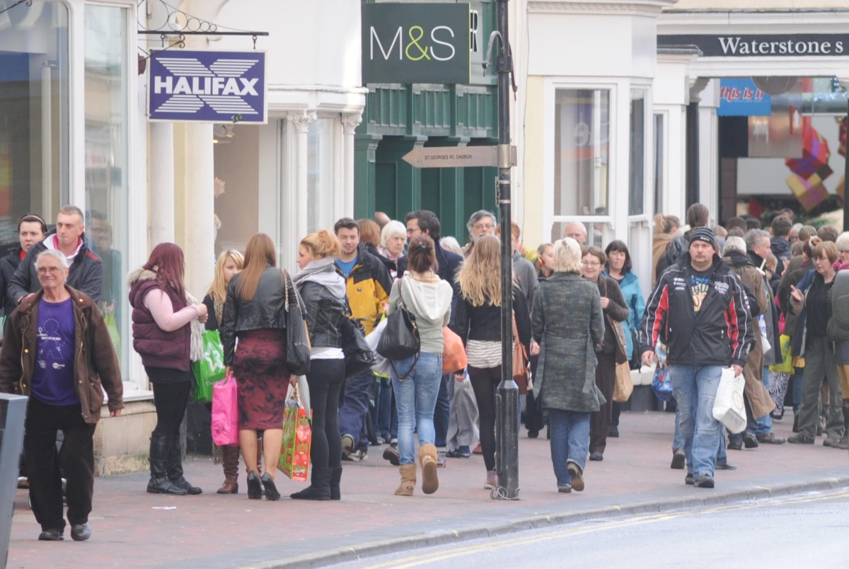 Shoppers in Taunton town centre.