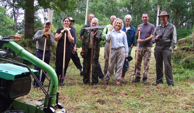The Neroche Conservation Volunteers at the Somerset Wildlife Trust's nature reserve at Ruggin,