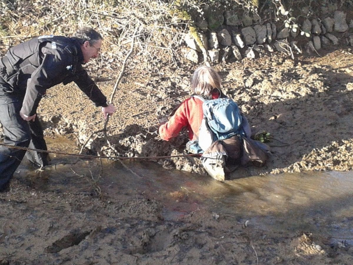 Family of farmers, a ladder and an old door help rescue woman from deep mud on Dartmoor: PICTURE