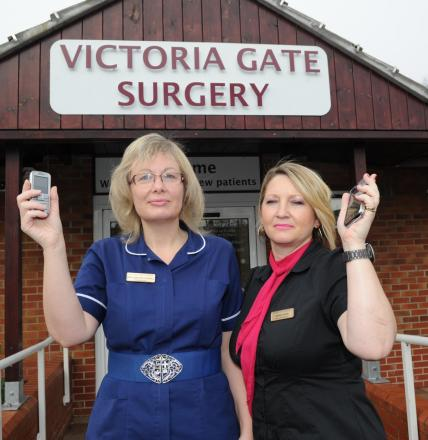 Practice sister Caroline Cornell and senior receptionist Amanda Foster outside Victoria Gate Surgery.