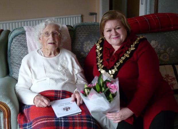 Evelyn Barrow with Taunton Deane Mayor Libby Lisgo.