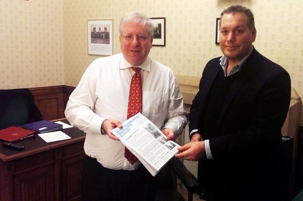 Transport Secretary Patrick McLoughlin discusses the station proposals with David Warburton.