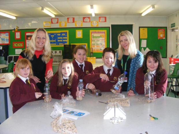 Hugh Sexey pupils with Science technicians Jeannie Fry and Tamara Reed. Photo: submitted.