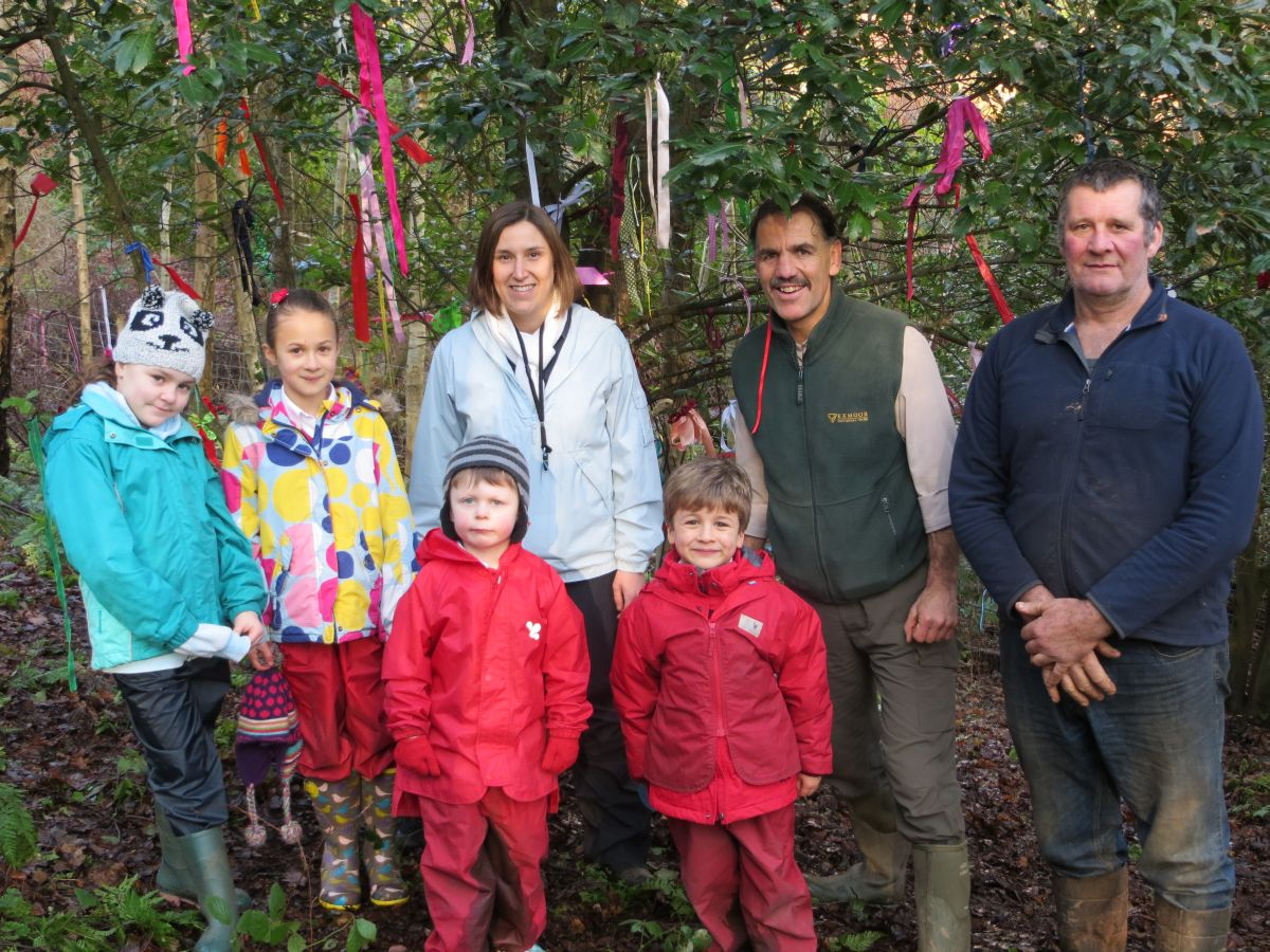 Back, from left: ALICE Richards and Olivia Stanbury, Reception Class teacher Louise Collins, Exmoor National Park ranger Dave Gurnett, Exmoor National Park Minehead area moorkeeper Paul Storey; front row:Albert Vickery and Jude Stanbury. PHOTO: Submitted.