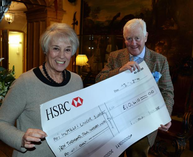 Organiser Sue Bridger with Sir Benjamin Slade