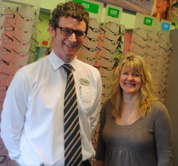 Amanda Barlow with Paul McGrane of Specsavers Falmouth