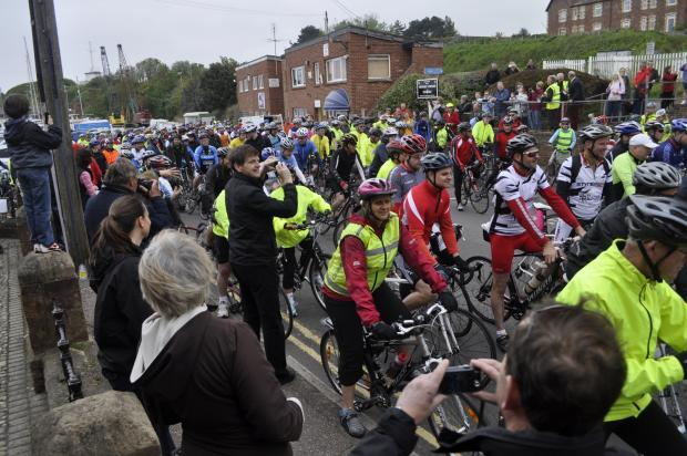 THE start of last year's Coast to Coast Cycle Challenge in Watchet. PHOTO: Submitted.
