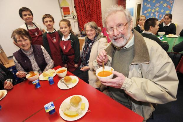 This is The West Country: Villagers enjoy soup served by the Children at Cossington Primary School