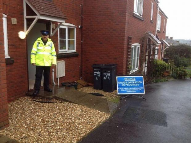 PCSO Richard Oaten during the raid. PHOTO: Avon and Somerset Police
