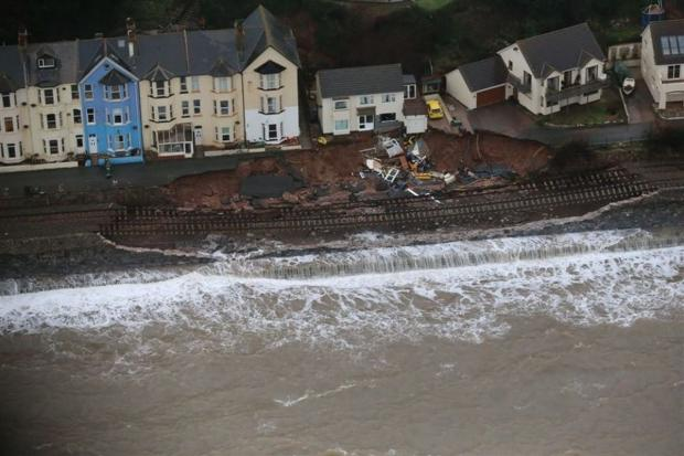 This is The West Country: Aerial photographs show savage scale of main train line damage at Dawlish