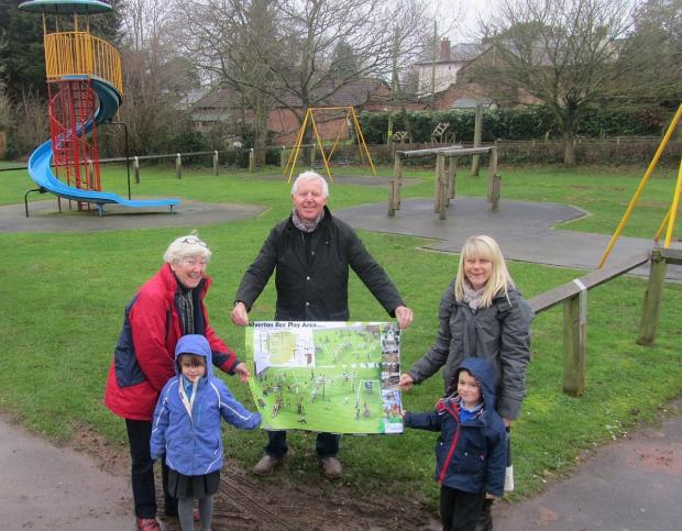 Deputy chairman of Milverton Parish Council Jenny Hoyle, left, with Mike Sheppard and Becky Hards, teaching assistant at Milverton Primary School, with pupils Eira Pike and Joseph Lewis.