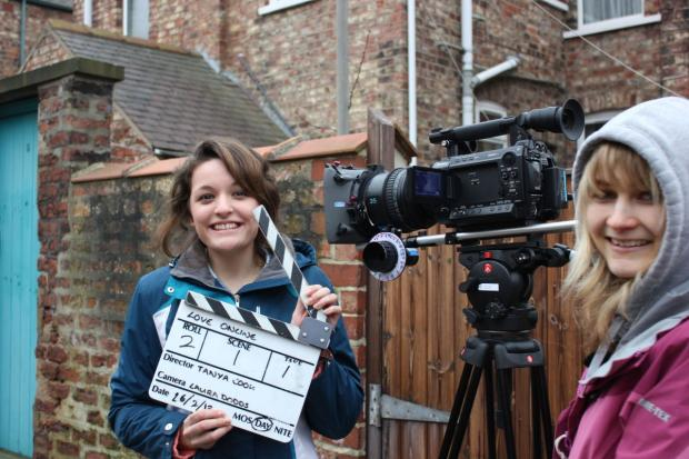 This is The West Country: FILM director Tanya Cook on set with Laura Dodds operating the camera.