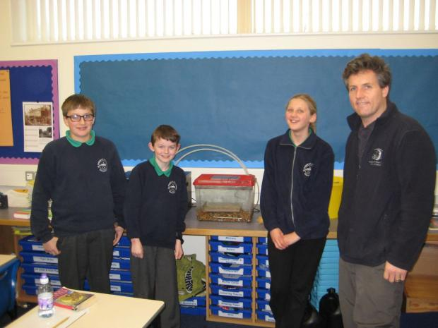 OAK class pupils with John Hickey of Westcountry Rivers Trust.