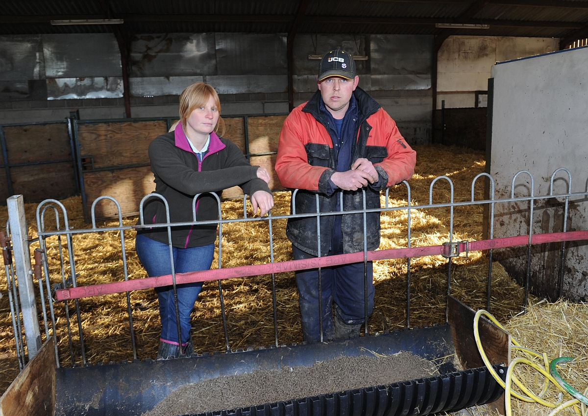 Farmer James Hall with Becky Riley.