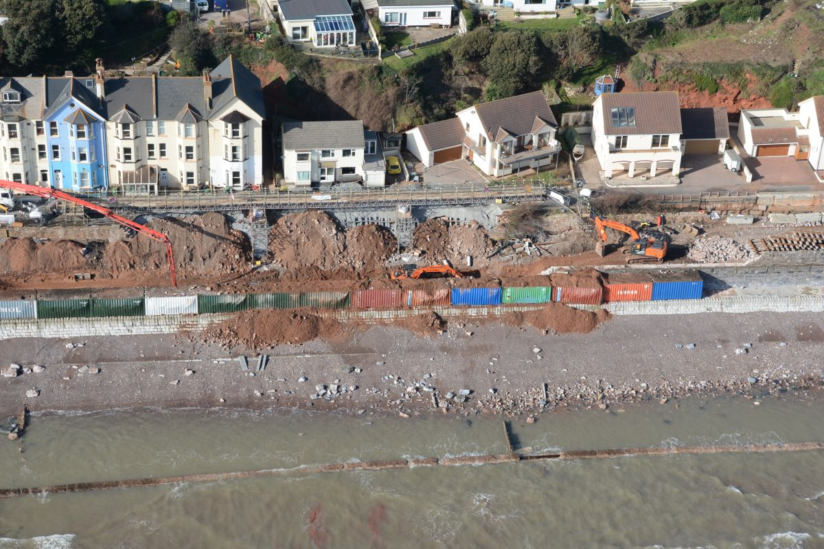 Police helicopter photos show scale of fresh Dawlish dam