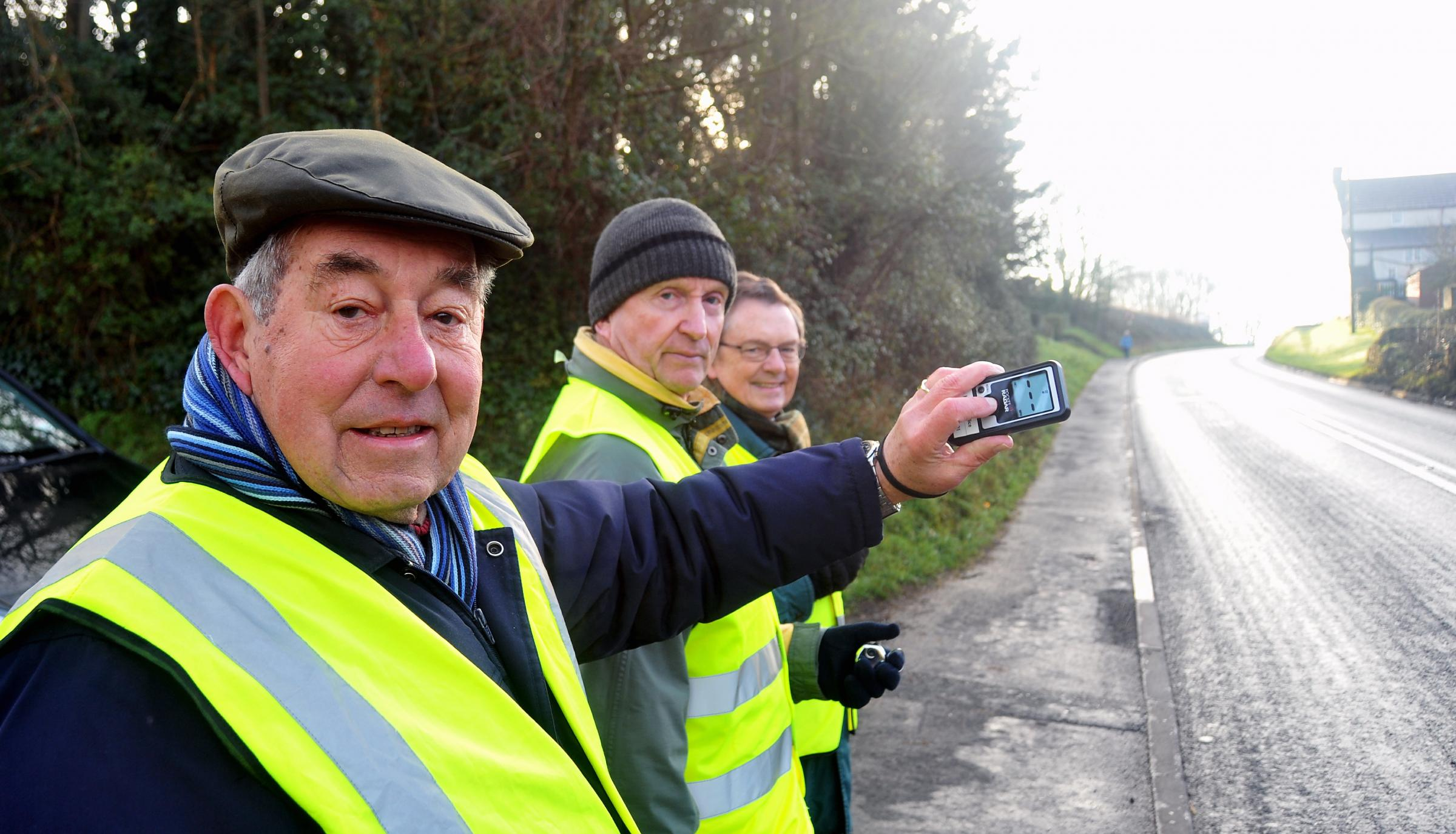 Cannington Speed Watch volunteers Brian Brin, Roy Pumfrey and George Pope. Photo: Jeff Searle.