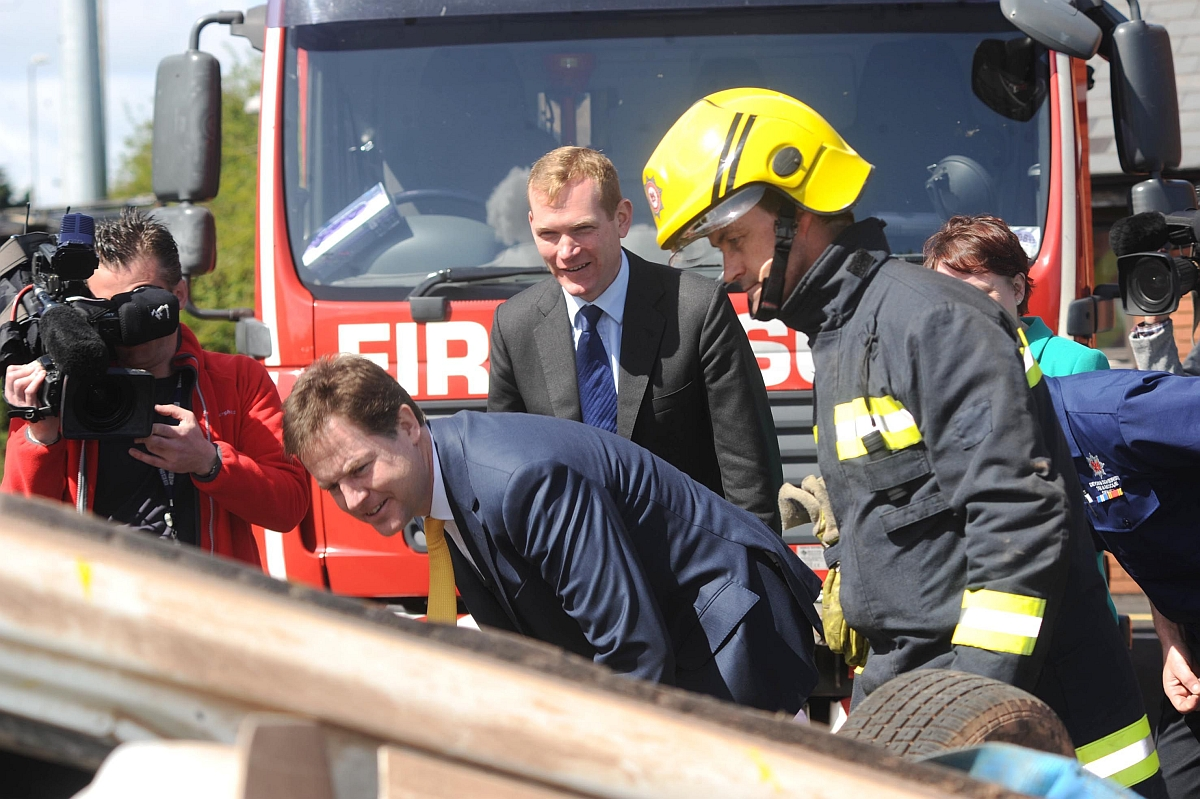 MP Jeremy Browne with Deputy Prime Minister Nick Clegg during a visit to Taunton Fire Station in May last year.