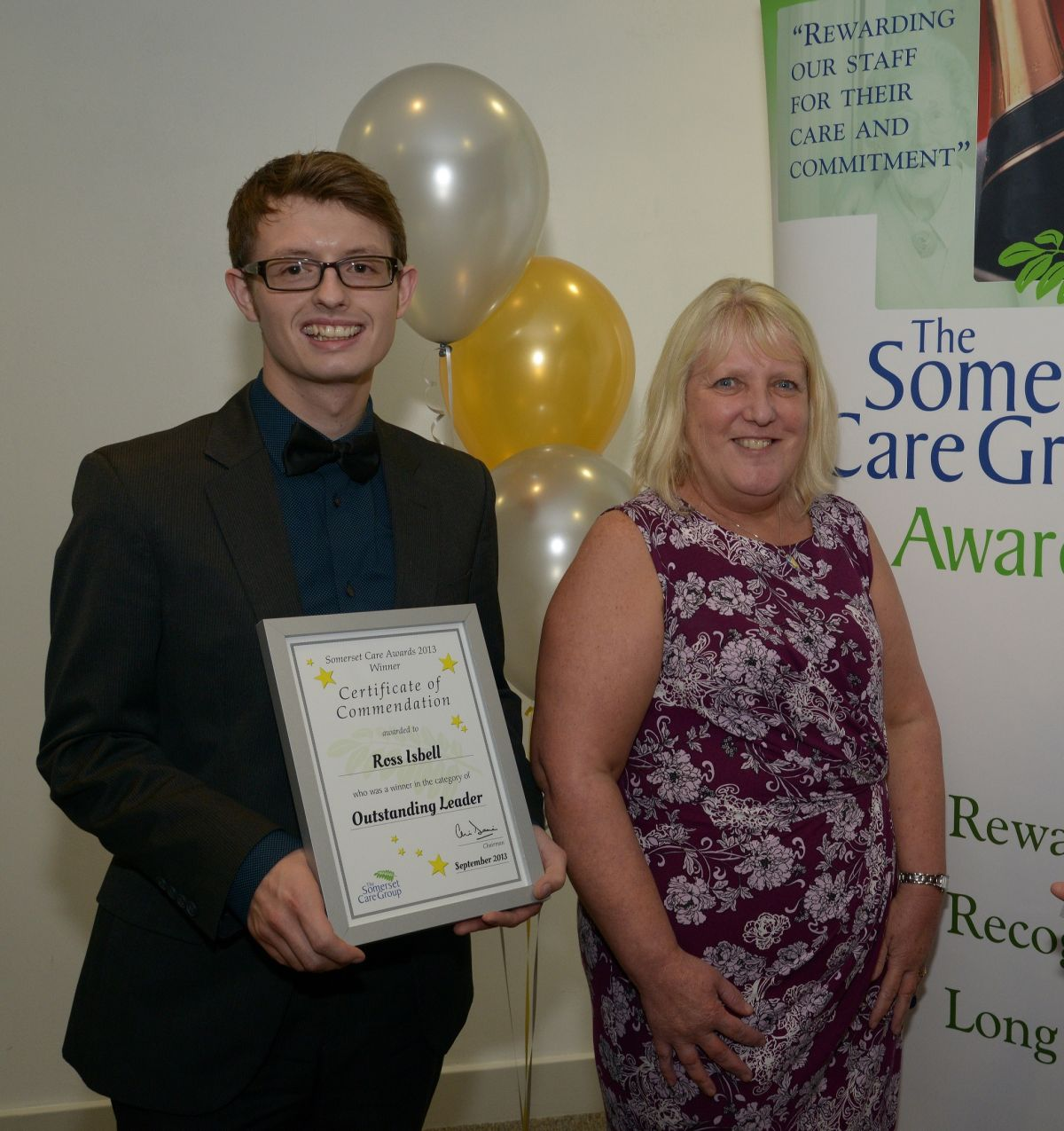 ROSS Isbell receiving his Somerset Care Award in September with Madeleine Flanagan. Photo: Submitted.