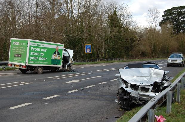 This is The West Country: Monday's crash near Bishops Lydeard in which two people were injured.