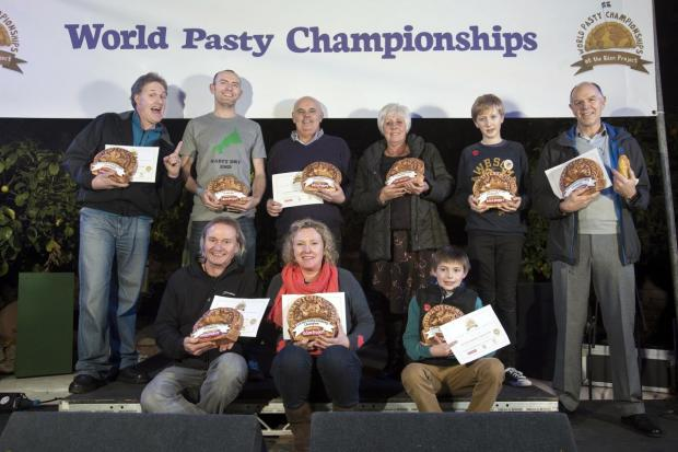 This is The West Country: All the category winners of the 2014 World Pasty Championships on stage in the Eden Project's Mediterranean Biome.