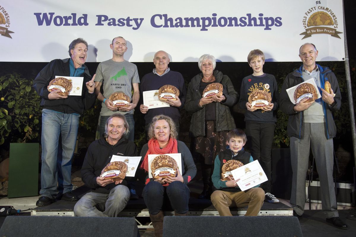 All the category winners of the 2014 World Pasty Championships on stage in the Eden Project's Mediterranean Biome.