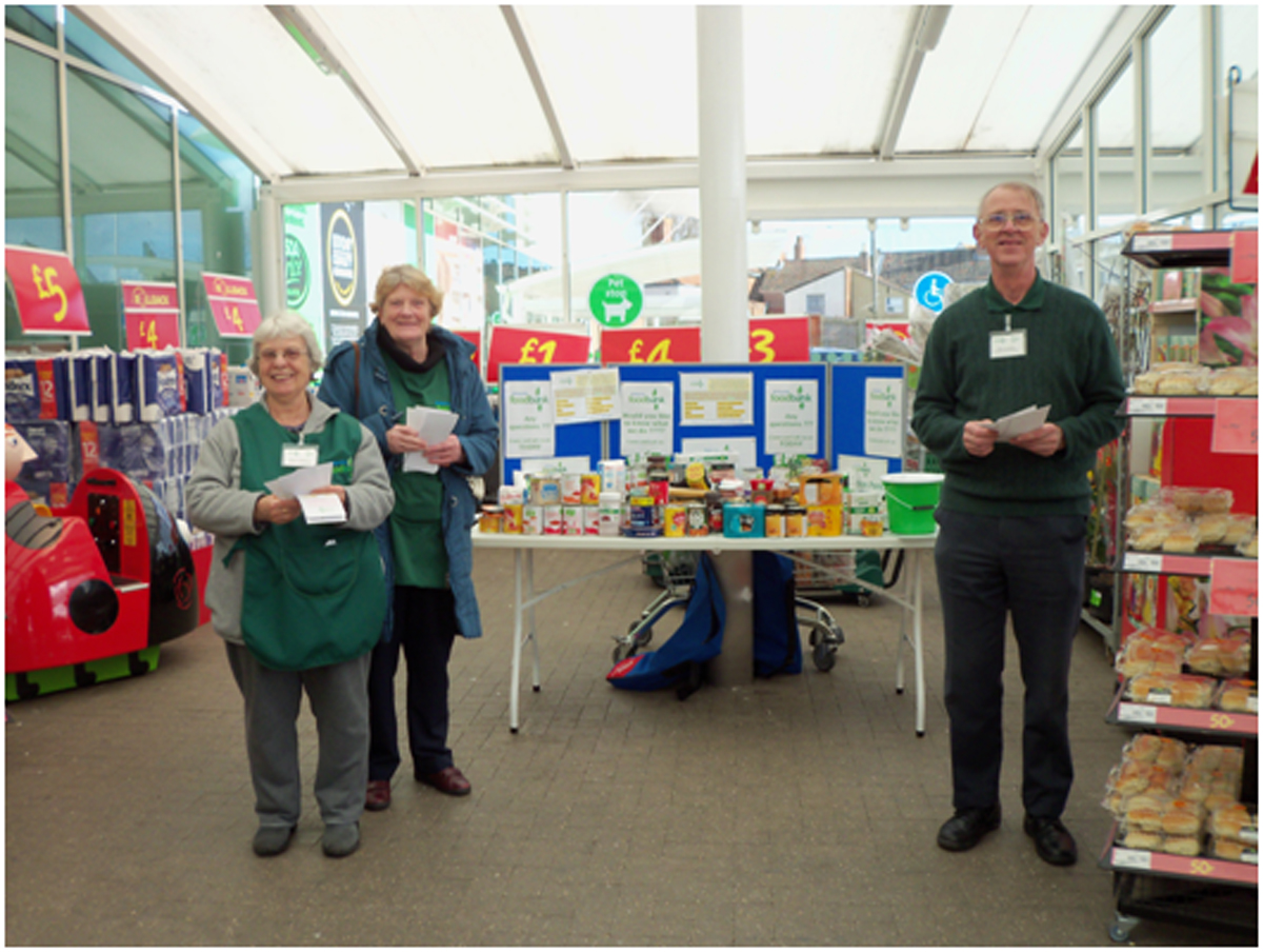 Foodbank volunteers Julia Connelly, Margret Rawlings and Tim Loveday were part of the team collecting food at ASDA Bri