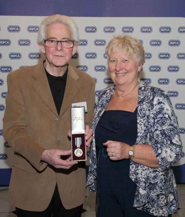 This is The West Country: JOHN Bryant with RSPCA trustee Maggie Baker at the awards ceremony.