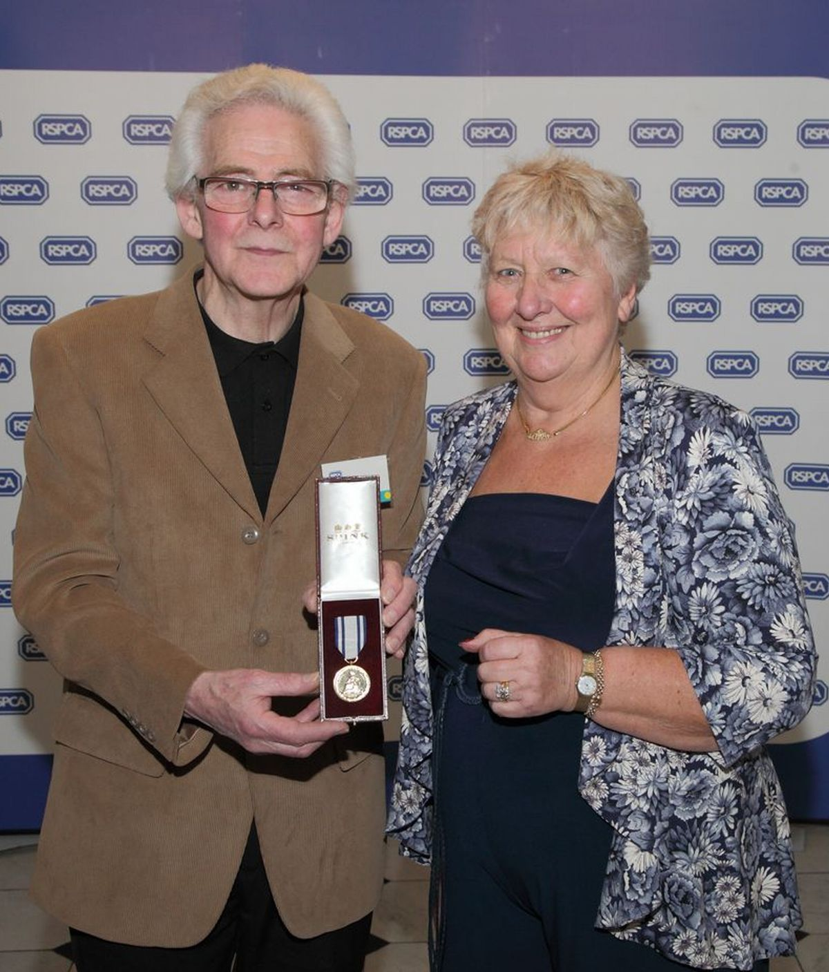 JOHN Bryant with RSPCA trustee Maggie Baker at the awards ceremony.