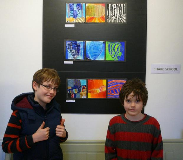 PUPILS visiting the exhibition at the Ilminster Meeting House.