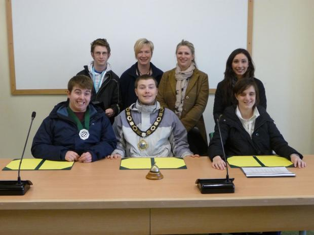STUDENTS and staff from Fairmead School take the Chairman & Vice-Chairman seats in the Council Chamber whilst wearing the Chain of Office.