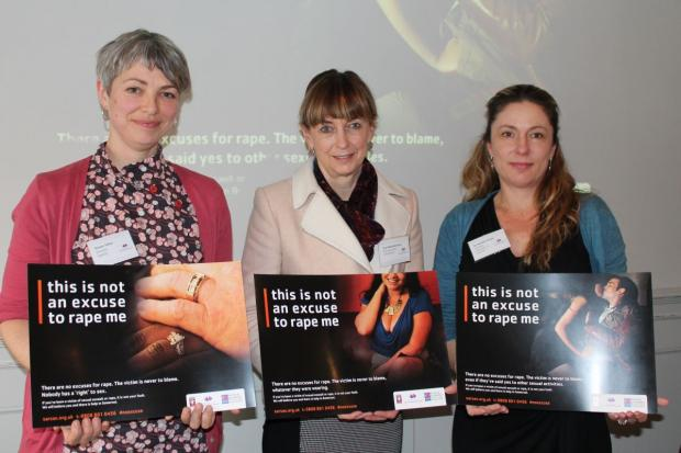 ; ROWAN Miller, director of SARSAS, Avon and Somerset PCC Sue Mountstevens and Dr Heather Flowe with some of the posters which will be put up around the county. PHOTO: Amber Thomas.