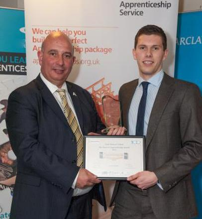 Patrick Millard, right, collecting his award from Rod Davis, from the Dorset and Somerset Training Provider Network.