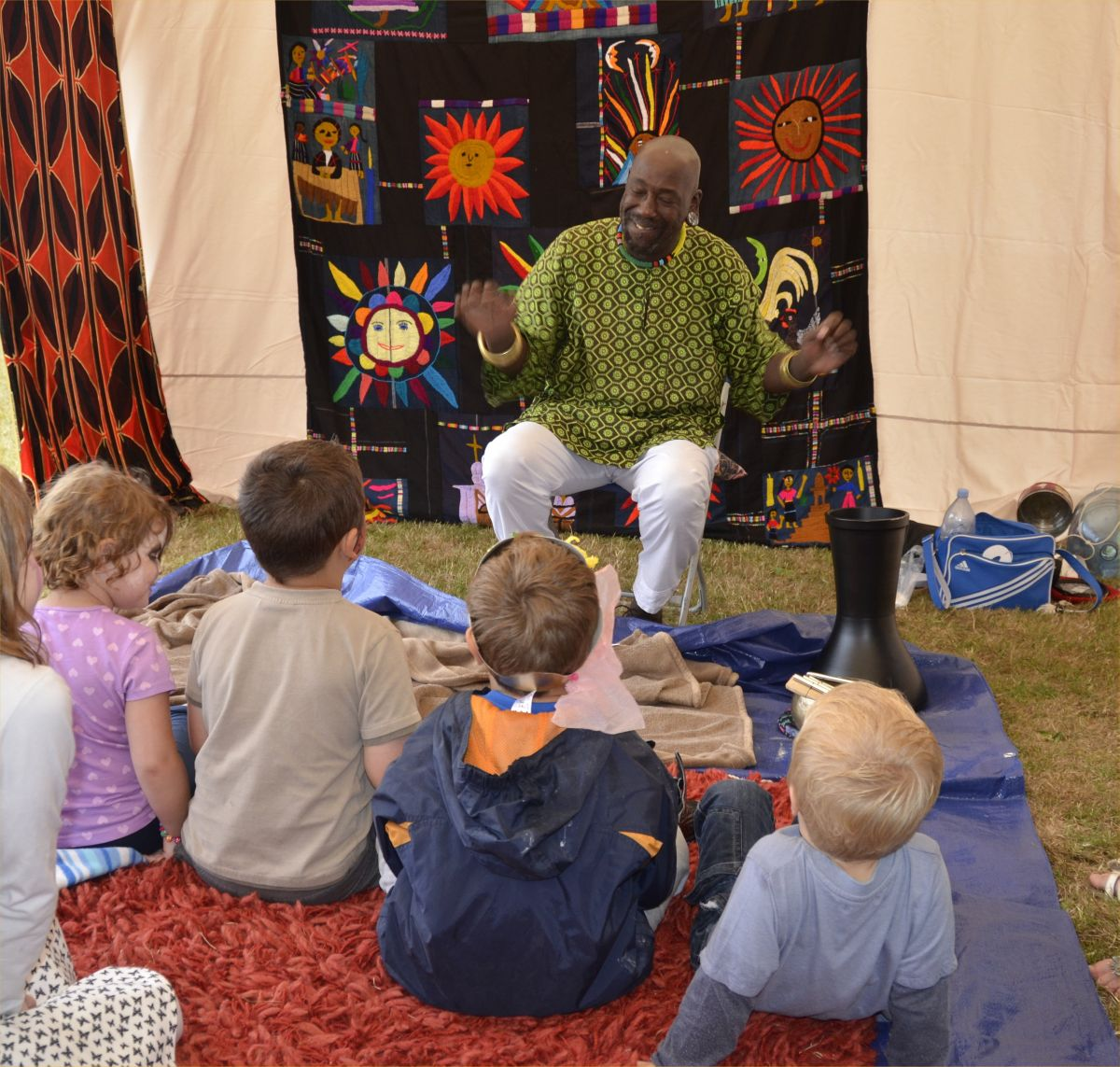 TUUP the storyteller weaving his magic over a spellbound audience at the Watchet Children's Festival last year. PHOTO: Cherrie Temple.