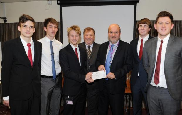 THE runners-up from Holyrood Academy with Somerset County Council road safety manager Terry Beale and Cllr David Hall.