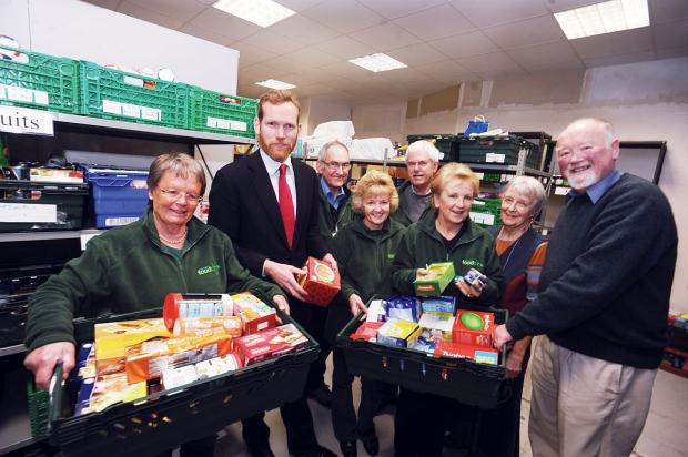 Jeremy Browne MP with volunteers at Taunton Foodbank.