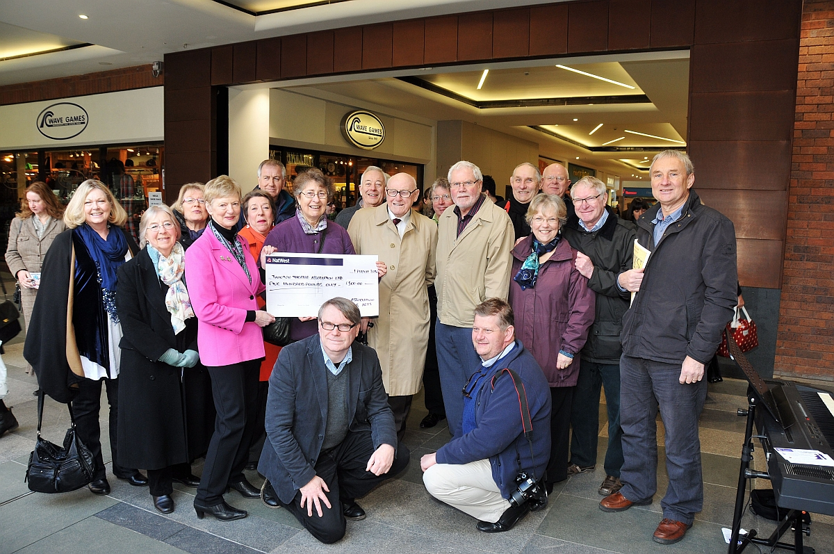 Members of the Taunton Association of Performing Arts present the cheque to Taunton Theatre Association.