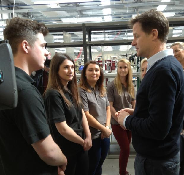 This is The West Country: Deputy Prime Minister Nick Clegg speaks to Mulberry apprentices
