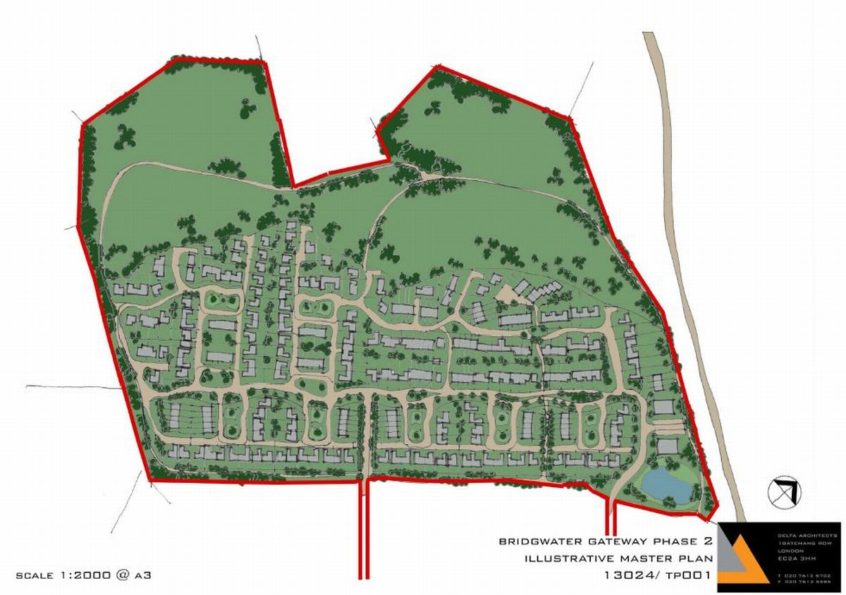 The outline for the new 292 homes to be built south of Stockmoor