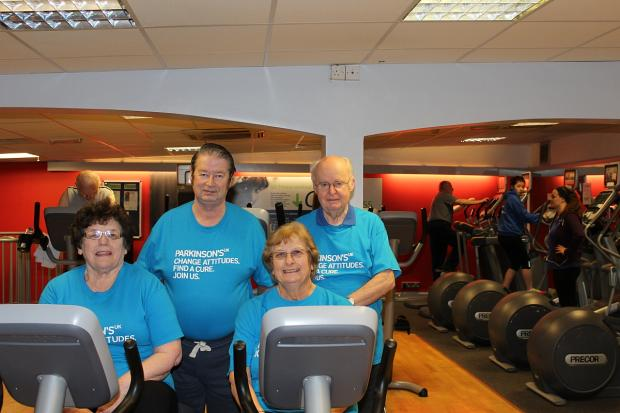 Pictured during the fitness challenge, from left, back, Sue's husband Bob and Tony Hull; front, Shirley Jennings and Sue.