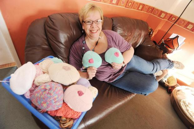Kay Coombes says she never thought she would have her knockers photographed until she joined the Knitted Knockers group. Photo: Steve Richardson.