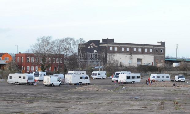 The group of travellers which moved in to the old market site at the start of this month.