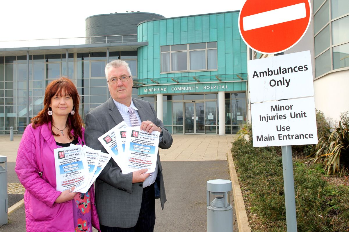 SIOBHAN Hutchings with Bryan Leaker, who is rallying residents to try and keep Minehead's Minor Injuries Unit open at night. PHOTO: Steve Guscott.