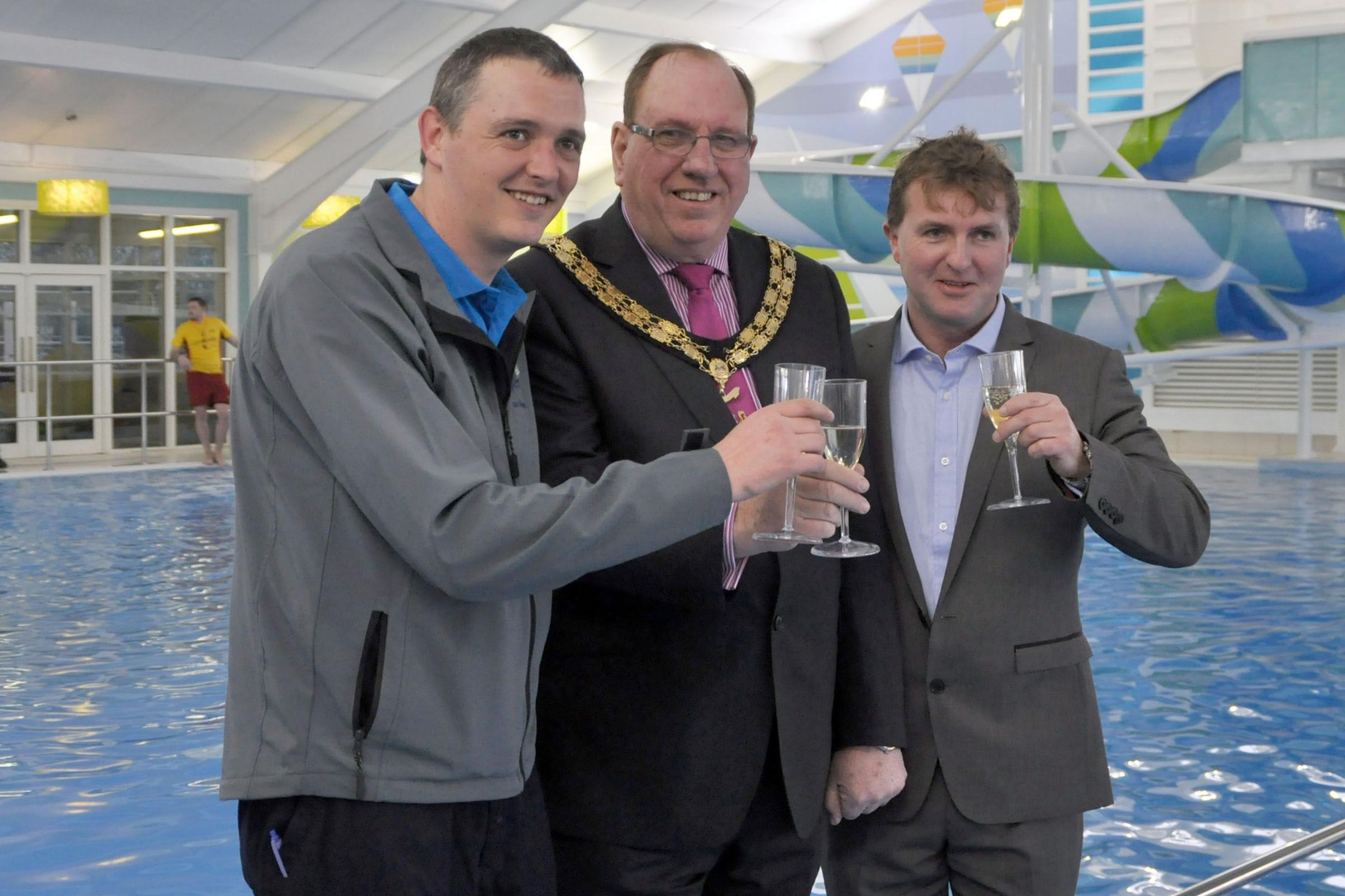 Pool manager Simon Briggs, Martin Cox and John Lyons