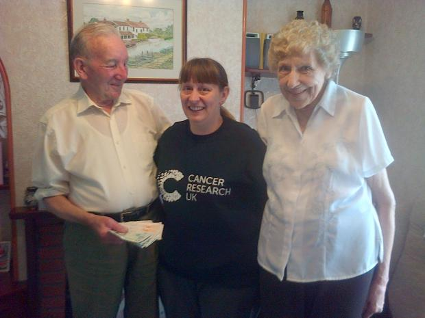 George Hingston, Vanessa Brooks-Oke, chair of Bridgwater friends of Cancer Research, and Hazel Hingston.