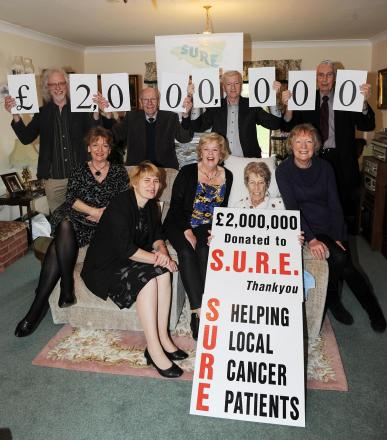 SURE committee members celebrate reaching the £2million landmark.