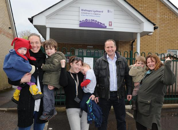 This is The West Country: Cllr Mike Rigby with children and parents outside Bishops Lydeard Children's Centre.
