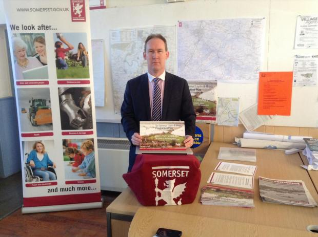 Somerset County Council leader John Osman presents the flood action plan to tackle further flooding on the levels