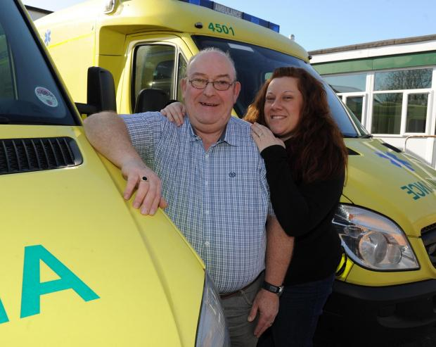 Tony Stokes, retiring from ambulance service after 41 years, with his daughter Sarah Hooper