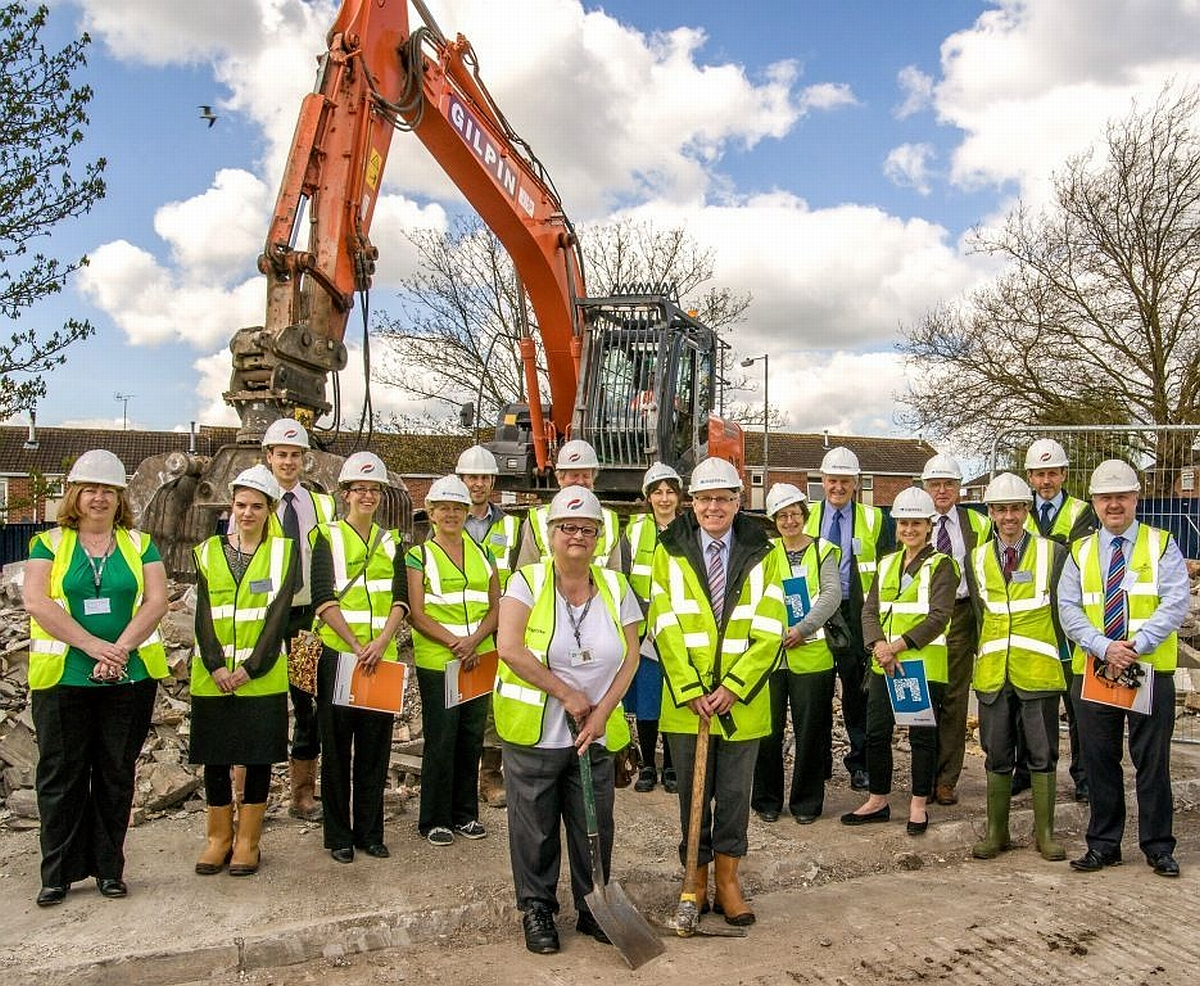 The launch of the new council homes scheme - pictured in front are Cllr Jean Adkins and Mike Day, of Knightstone Housing.